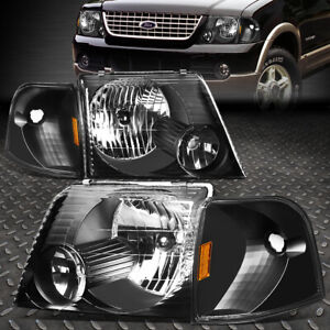 For 2002 2005 Ford Explorer Pair Black Housing Amber Corner Headlight Lamp Set
