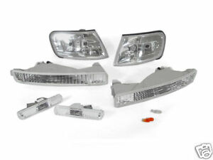 6pcs Clear Corner Bumper Signal Side Marker Light For 1996 1997 Honda Accord