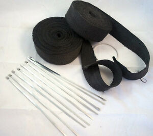 2 Rolls 2 X 50 Exhaust Header Heat Wrap Black W Stainless Straps Rat Rod V8