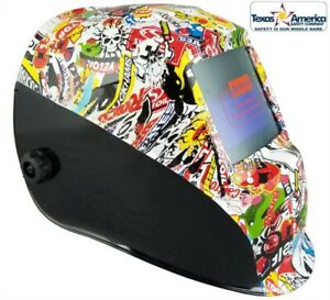Sticker Bomb Pattern Hydro Dipped Auto Darkening Welding Helmet