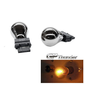 Gp Thunder 3157 3057 4157 Chrome Silver T25 Light Bulbs Amber 2pcs
