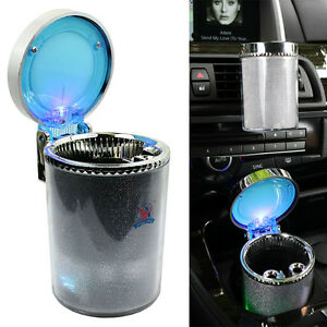 Portable Car Travel Cylinder Ashtray Holder Cup Colorful Led Light
