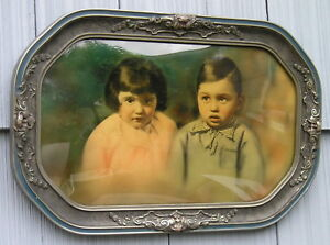 Rare Eastlake Victorian Curved Glass Gray Silver Picture Frame Children Portrait
