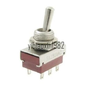 New 100 Pcs Ac 250v 5a Amps On on 2 Position 6pin Dpdt Toggle Switch