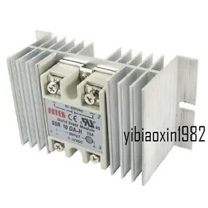 Single Phase Solid State Relay Ssr 10a 3 32v Dc 90 480v Ac With Heat Sink