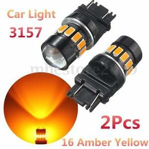 2x 3157 High Power 5630 Led 16 Smd Amber Yellow Turn Signal Light Bulb Lamp 12v