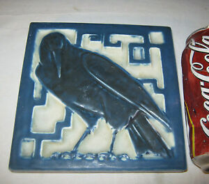 Antique C 1925 Premium Quality Rookwood Pottery Rook Bird Tile Art Trivet Usa