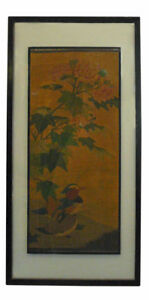 Vintage Chinese Kesi Tapestry Framed Two Sides Wall Art Cs660