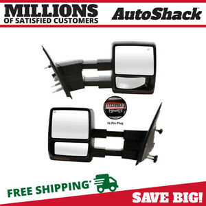 New Pair Towing Mirror Power Heated Puddle Light Signal For 2007 2012 Ford F 150