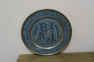 Vintage Tinned Copper Hand Etched Shahnameh Persian Tray Ghalamzani 11 5 Plate