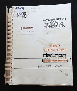 Genuine Datron 1061 1061a 1062 Digital Multimeter Operating Calibration Manual