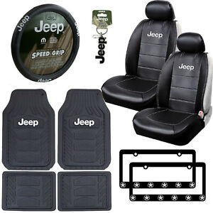 12pc Jeep Car Truck Suv All Weather Floor Mats Seat Covers Steering Wheel Cover