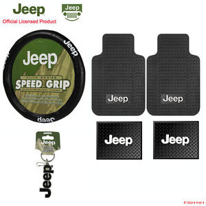 New 6pcs Jeep Factory Logo Car Truck All Weather Floor Mats Steering Wheel Cover