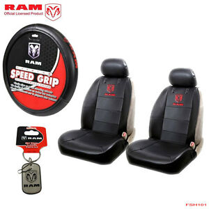 6pcs Dodge Ram Logo Car Truck Seat Covers Steering Wheel Cover Value Pack