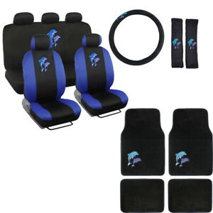 New Blue Purple Dolphins Car Front Rear Seat Covers Floor Mats Interior Set