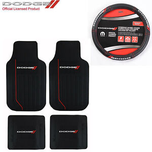 New Dodge Car Truck Front Rear Back Rubber Floor Mats Steering Wheel Cover Set