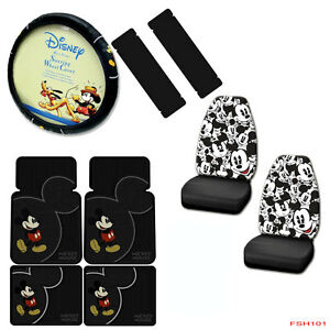 9pcs Disney Mickey Mouse Car Truck Seat Covers Floor Mats Steering Wheel Cover