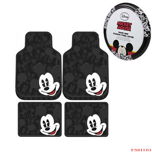 New Mickey Mouse Expressions Car Truck Rubber Floor Mats Steering Wheel Cover