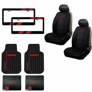New 10pc Gmc Truck Suv Front Rear All Weather Rubber Floor Mats Seat Covers Set
