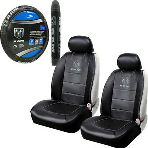 New Dodge Ram Premium Sideless Front Seat Covers Steering Wheel Cover Set