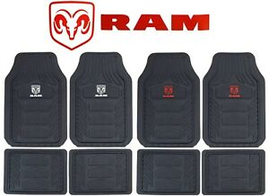Dodge Ram Head Factory Logo Car Truck Front Rear Heavy Duty Rubber Floor Mats
