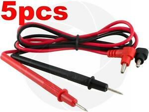 5 Pairs Multimeter Voltmeter Test Probe Leads With Banana Plug Connectors 1000v