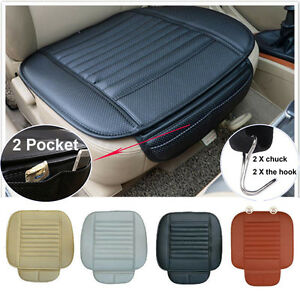 3pcs Car Front Seats Cover Pu Leather Bamboo Single Bucket Protector Mat Cushion