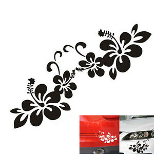 2pcs Plant Flower Bumper Personalized Creative Car Sticker Decal Black Silver