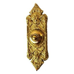 Polished Shiny Brass Door Bell Button Antique Victorian Replica 7 5 Inches Tall