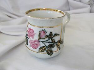 Victorian Hand Painted Cup Mug Gold Rims Embossed Raised Flowers Pink Rose