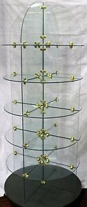 Commercial Retail All Glass Brass Rolling Display Shelves 6 Shelf Round Unit