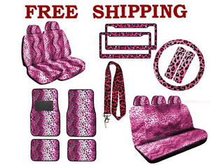 New Pink Leopard Print Seat Covers Floor Mats License Plate Frames Interior Set