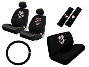 New Safari Hearts Zebra Print Front Back Car Seat Covers Steering Wheel Cover