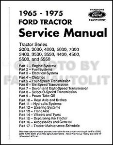 Ford Tractor Repair Shop Manual 2000 3000 3400 3500 4000 4400 4500 5000 7000