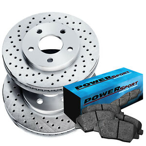 Fit 2007 Chevrolet Cobalt Rear Powersport Drilled Brake Rotors ceramic Brake Pad