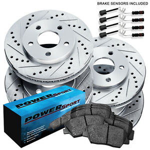 Full Kit Powersport Drilled Slotted Brake Rotors Ceramic Pads Blcc 35073 02