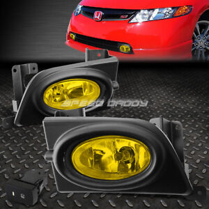 For Honda Civic 06 08 4dr Oe Bumper Amber Fog Light Lamp Kit With Switch wire