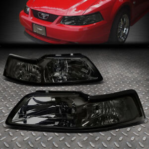 For 1999 2004 Ford Mustang Pair Smoked Housing Clear Corner Headlight lamp Set