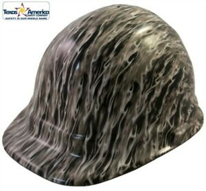 New Water Dipped Cap Style Hard Hat Ratchet Liner White Flame Design
