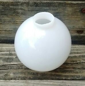 White Milk Glass Round Lightning Rod Ball 3 5 Diameter Old Antique Cabin Decor