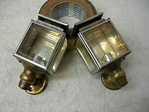 2 Early 1900s Gas Edmunds Jones 6 Brass Interior Coach Carriage Lights Lamps