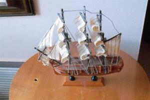 Souvenir From St Kitts Hand Made Model Of A Wooden Sail Ship