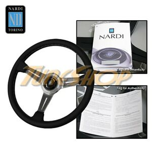 Italy Nardi Classic 360mm Steering Wheel Black Leather Polish Spoke Gray Stich