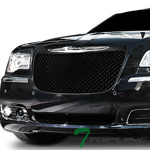Topline For 2011 2014 Chrysler 300 300c Mesh Front Bumper Grille Matte Black