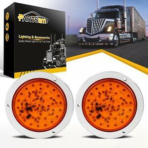 2pcs 40 Led 4 Round Stop Tail Turn Truck Tractor Trailer Brake Light Amber 12v