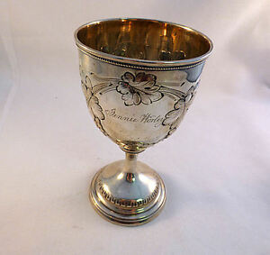 Repoussed Grape Design American Coin Silver Goblet Mono Jennie Worley