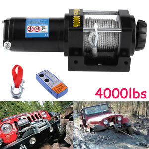 12v 4000lbs Electric Recovery Winch Kit Wireless Remote Truck Tow Trailer