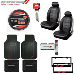 Dodge Elite Car Truck Seat Covers Floor Mats Keychain Steering Wheel Cover