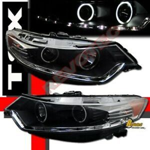 Black G3 Super Bright Halo Led Bar Projector Headlights For 2009 2011 Acura Tsx