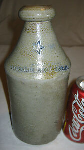 Antique Country Primitive Stoneware Beer Bottle Texas Star Usa Crock Jug Art Qt